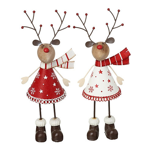 Red and White Metal Reindeer in White Dress and Red Scarf