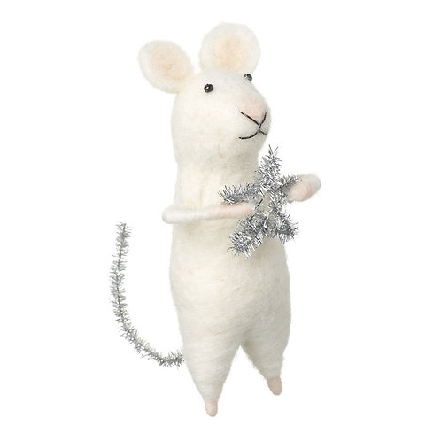 Wool Mouse with Star and Glitter Tail