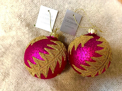 Gisela Graham Hot Pink Glass Bauble with Gold Bead Detail