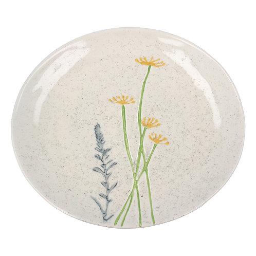 Gisela Graham Ceramic Artisan Plate - Yellow Daisy/Lavender