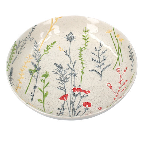 Gisela Graham Ceramic Artisan Shallow Bowl - Meadow Flowers