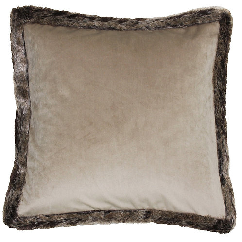 Kiruna Taupe Faux Fur Cushion by Riva Home 45x45cm
