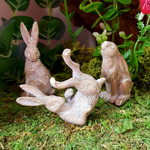 Grey Hare Ornament Sitting