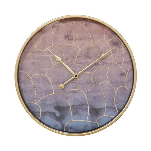 Gold and Pink Metal Wall Clock