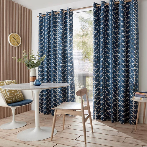 "Orla Kiely Luxury Ready Made Curtains Linear Stem Whale 90""x90"""