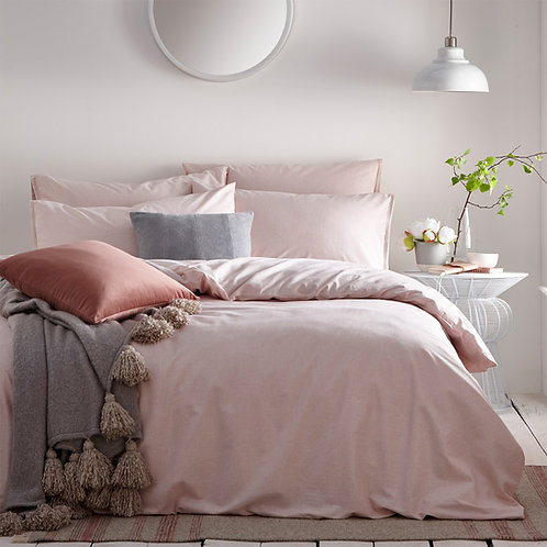 The Linen Yard Claybourne Blush Pink Duvet Set - Double