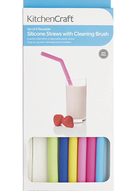 Set of Six Silicone Straws with Cleaning Brush