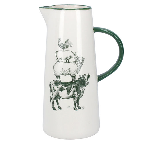 Gisela Graham Large Ceramic Green/White Farmyard Jug