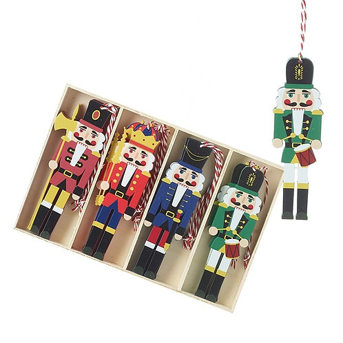 Wooden Nutcracker Soldier Hanging Tree Decoration Set of 12
