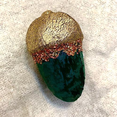 Large Green Velvet Acorn