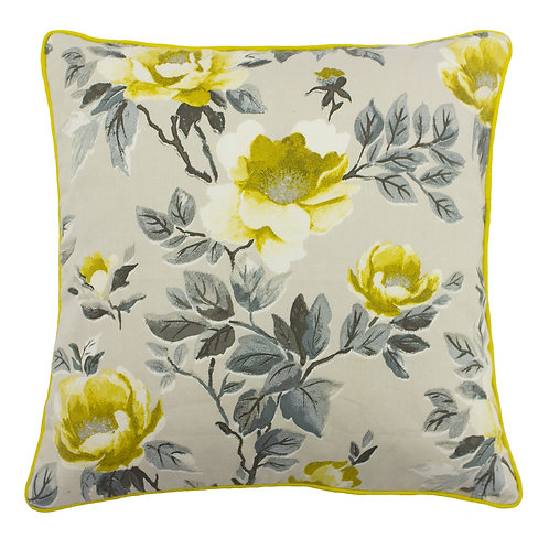 Peony Flower Cushion in Ochre 45cm x 45cm 50% Cotton 50% Polyester