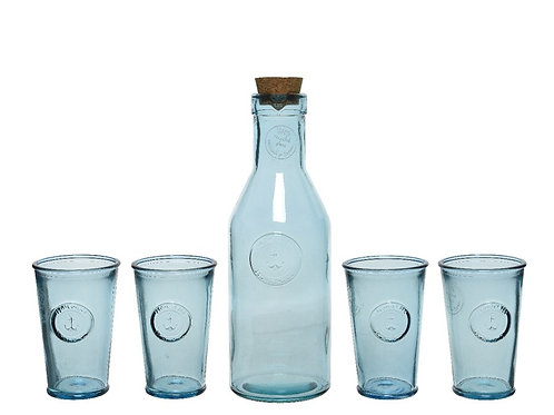 Recycled Glass Beverage Drinks Set with Anchor Design