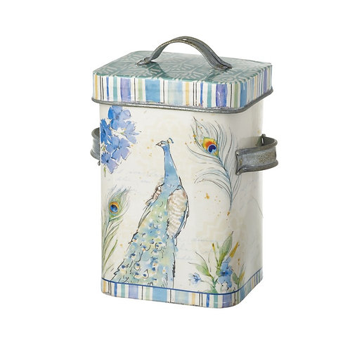 Heaven Sends Peacock Metal Storage Canister
