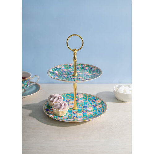Maxwell and Williams Teas and C's Kasbah Mint Two Tiered Cake Stand
