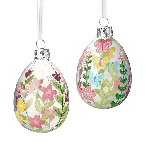 Heaven Sends Pastel Flowers Glass Egg Baubles Set 2