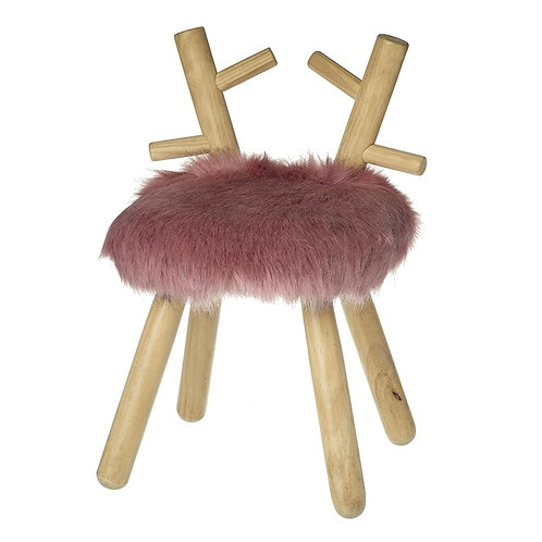 Pink Fluffy Wooden Reindeer Stool