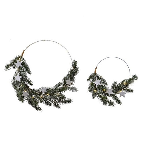 Set of 2 Lit Metal Ring Wreath with Pine and Star Decorations