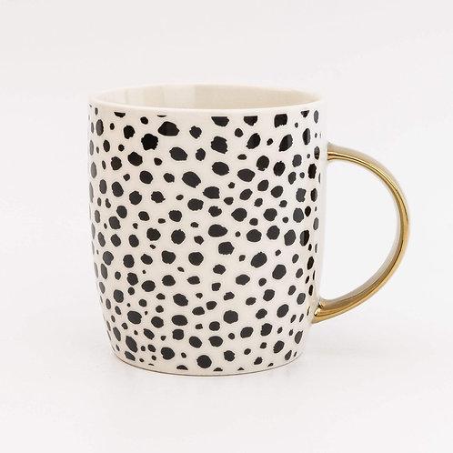 Animal Luxe Barrel Mug in Cheetah Print and Gold Handle