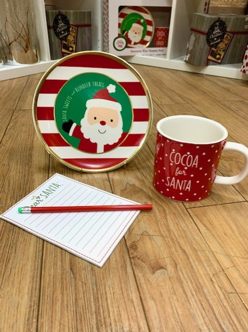 Santa Ceramic Gift Set - Cookie Plate, Mug & Notepad