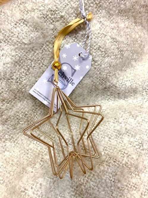 3D Gold Abstract Star Hanging Decoration