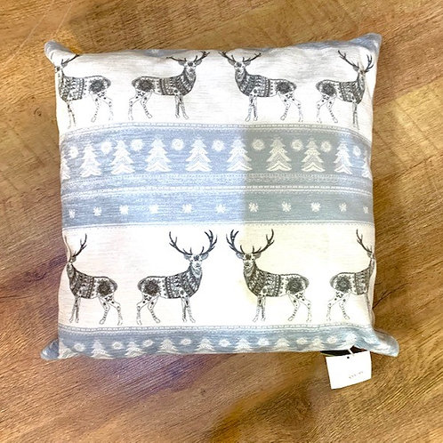 Evans Lichfield Blue and White Scandi Stags Cushion