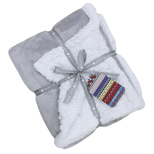 Luxury Sherpa Throw - Grey