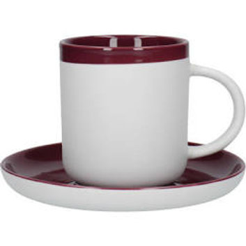 La Cafetiere Barcelona Plum Ceramic 260ml Set of Two Coffee Cup and Saucer