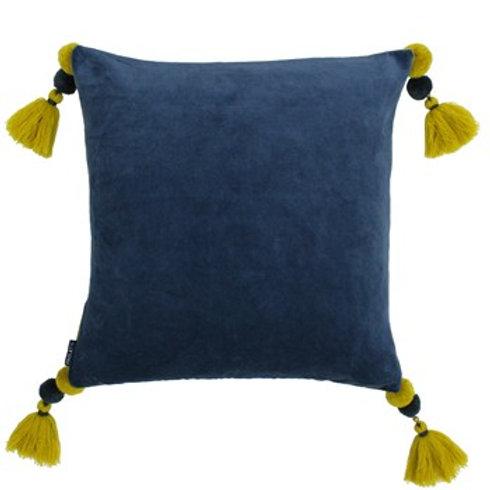 Poonam Smoke Blue/Lemon Curry Square Cushion 45cm x 45cm