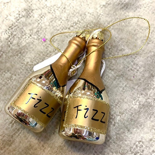 Gold Glass Champagne Fizz Bauble