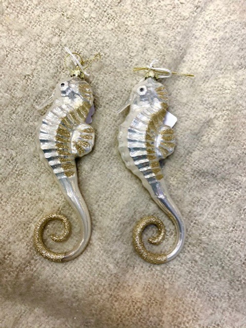 Gisela Graham Gold and Silver Glass Seahorse Hanging Decoration