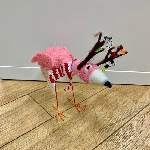 Felted Wool Pink Reindeer Flamingo with Scarf and Christmas Lights