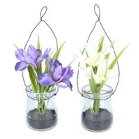 Gisela Graham Fabric Iris in Glass Jar - Purple