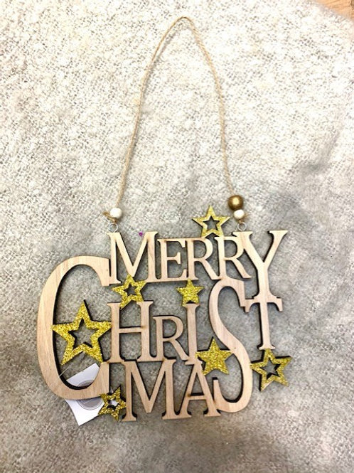 Hygge Merry Christmas Wooden Hanger with Gold Star Detail