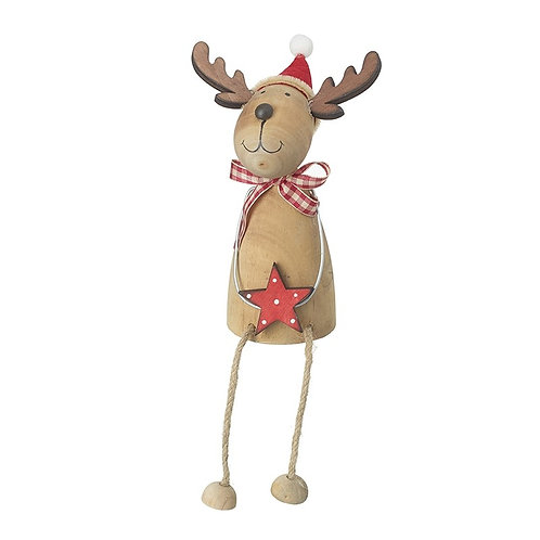 Wooden Reindeer with Red Star