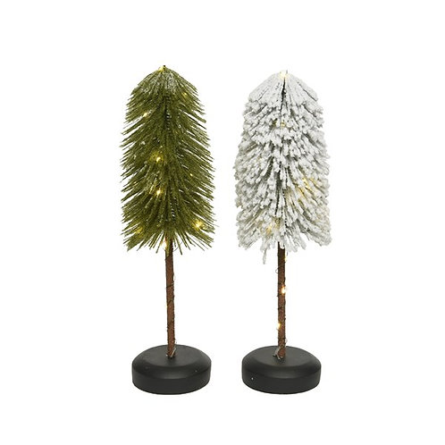 Lit Mini Tree on Stem and Wooden Stand - Green