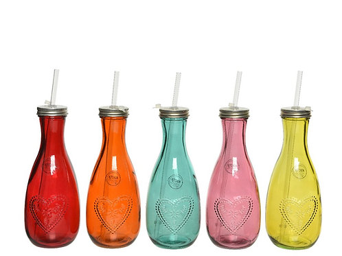 Recycled Glass Coloured Drinks Bottle with Straw - Orange