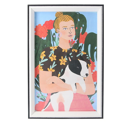 Gisela Graham Girl and Dog Acrylic Framed Watercolour Print