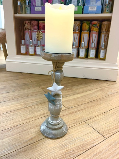 Wooden Candlestick with Heart Decoration 26cm