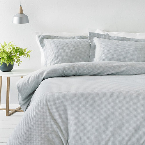 The Linen Yard Silver Grey Waffle Duvet Set - King