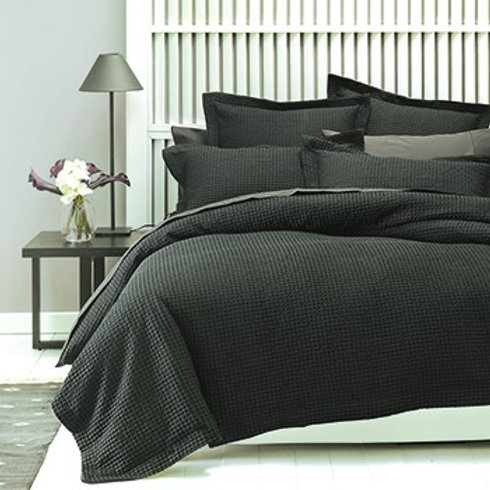 The Linen House Deluxe Waffle Charcoal Duvet Set - Double