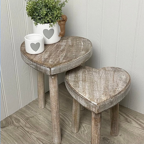 Sass and Belle Heart Stool/Tables - Set of 2