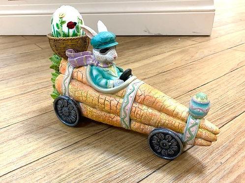 Gisela Graham Ceramic Easter Rabbit Driving a Carrot Car