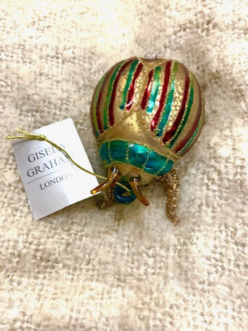 Gisela Graham Glass Shape 8cm - Multicoloured Beetle