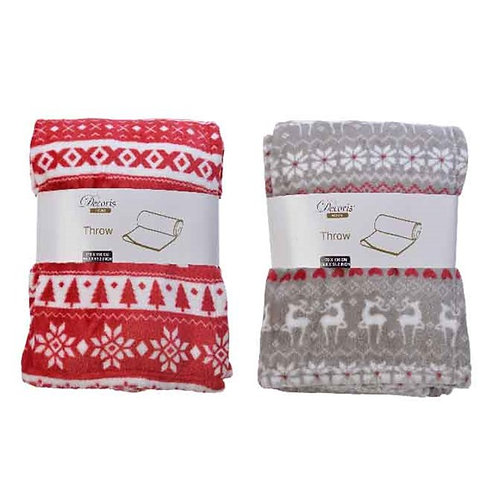 Polar Fleece Red and White Throw