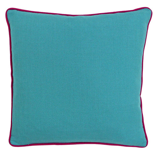 Bamboo Square Aqua Fuchsia Cushion 45cm x 45cm by Riva Home