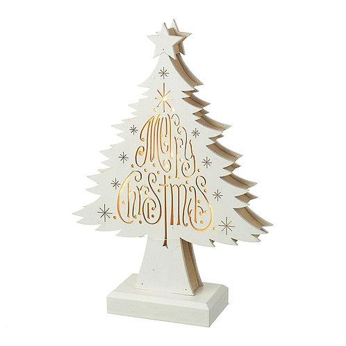 Light Up White Wood Merry Christmas Tree
