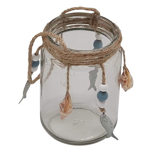 Heaven Sends Glass Jar Decorated with Silver Fish and Shells