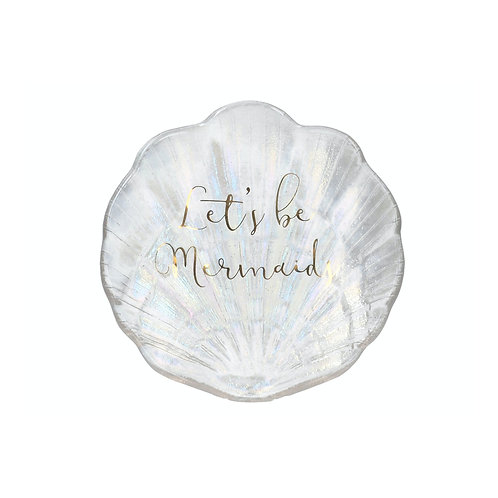 "Ava & I Glass Shell Trinket Dish - ""Let's Be Mermaids"""