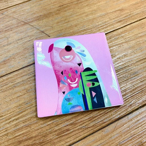 Maxwell Williams Pete Cromer Pink Ceramic Cockatoo Coaster