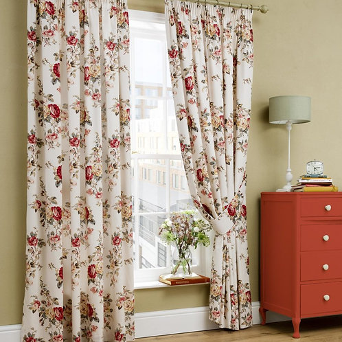 "Cath Kidston Luxury Ready Made Curtains Garden Rose Design 90""x90"